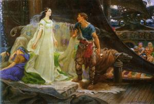 Portrayal of Tristan and Yseut by Herbert Draper